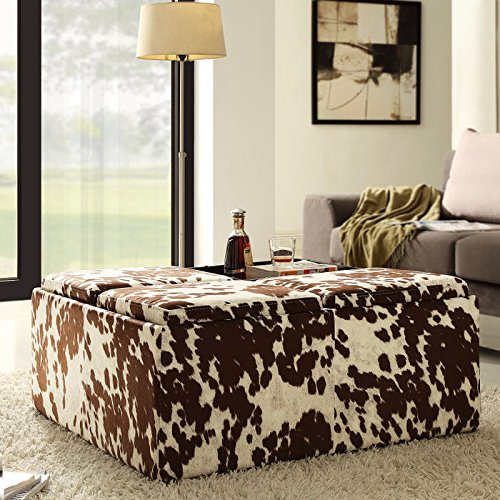 Home Creek Cowhide-Print Storage Cocktail Ottoman (Ottoman Cow Print)