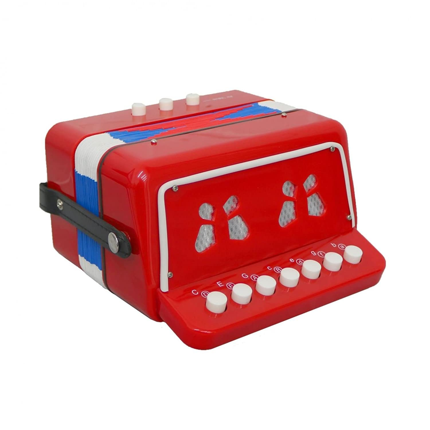 Oypla 7 Keys 2 Bass Children's Red Toy Accordion Musical Instrument 3628A2P