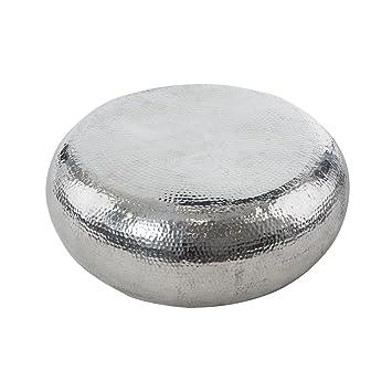 Couchtisch Vintage Look Rund Aluminium Ca 80 Cm Silber Glnzend