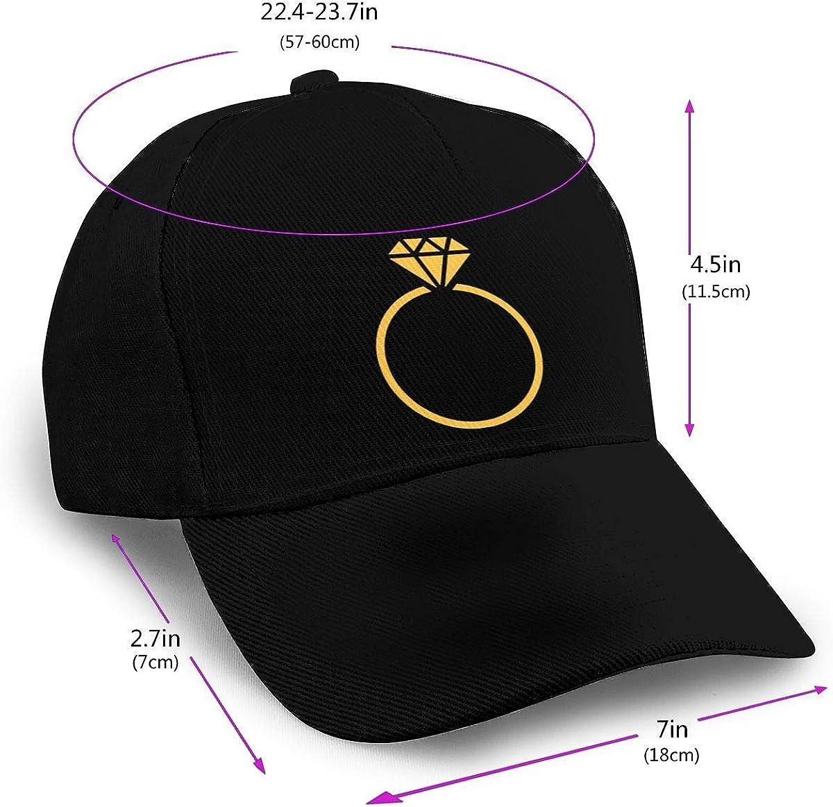 Classic Adjustable Plain Hat Black Diamond Ring Baseball Cap Men Women