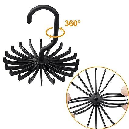 1pc 360° Twirl Tie Rack Belt Hanger Holder Hook For Closet Organizer Storage