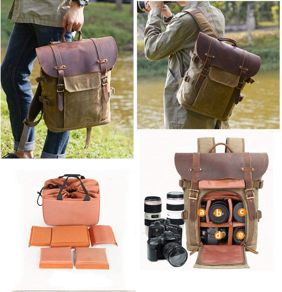 DSLR Camera Backpack,Savman Waterproof Canvas Photography Camera Bag Case for Men Women Canon Nikon Sony Pentax DSLR Cameras,Lens,Tripod Laptop and Accessories for Outdoor Travel Hiking Khaki2