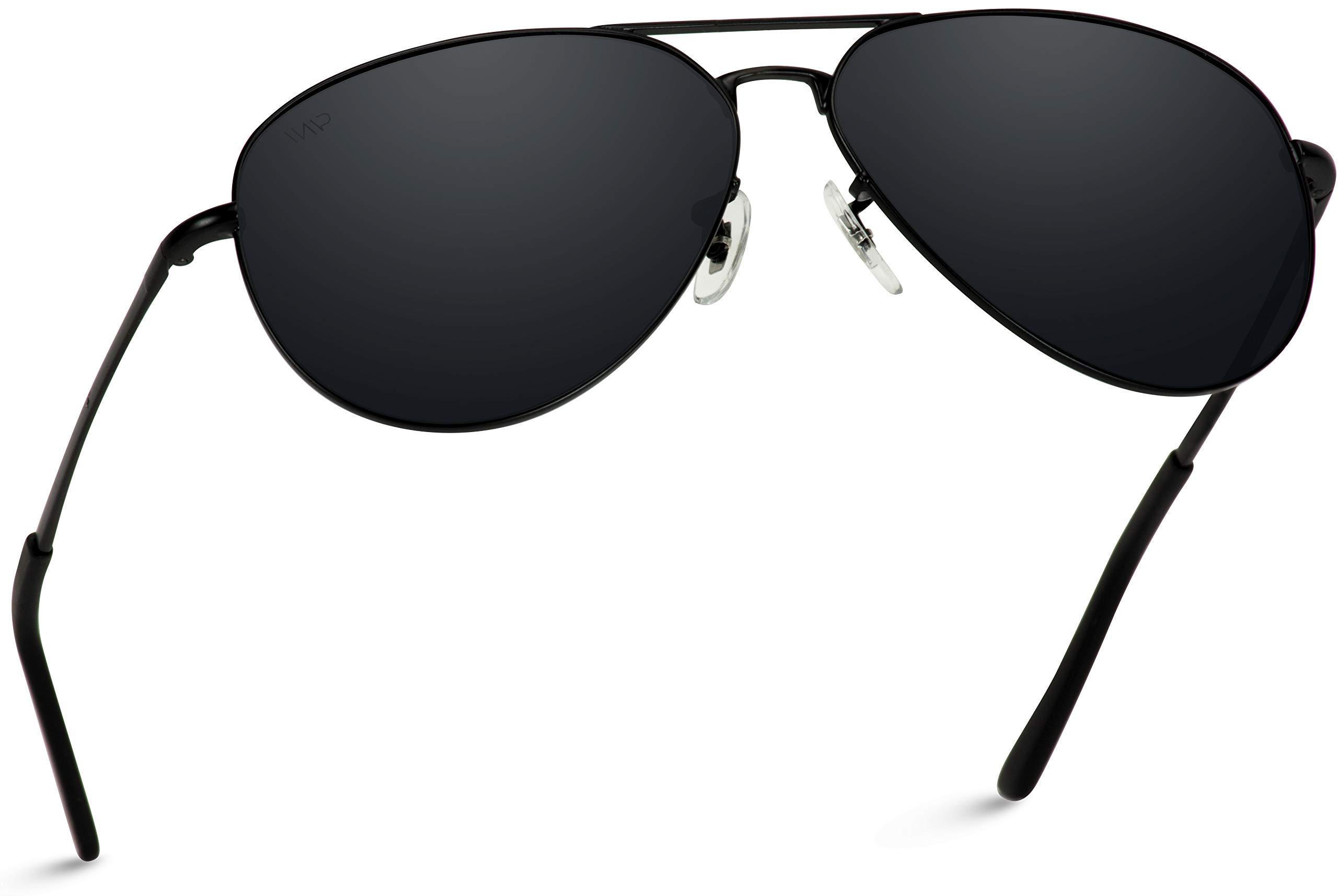 WearMe Pro - Classic Full Black Polarized Lens Metal Frame Men Aviator Style Sunglasses by WearMe Pro