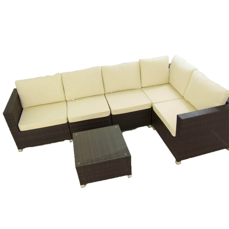 Conjunto sofás de jardín Caruno 7 - Hevea, Sofá rinconera 5 ...