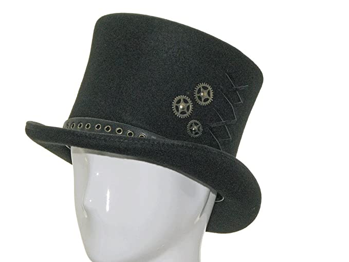 Steampunk Hats for Men | Top Hat, Bowler, Masks ASTRO HATTER Victorian Black Linnig Top Hat $83.70 AT vintagedancer.com