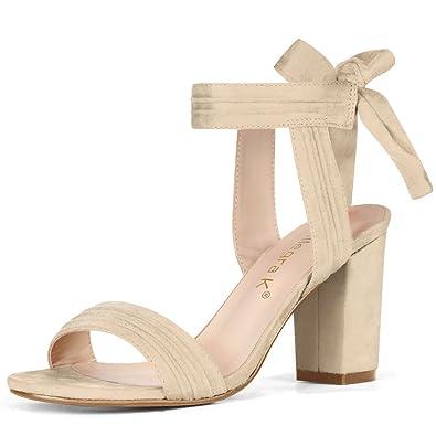 43f1341adca Allegra K Women s Open Toe Ankle Tie Chunky Heel Beige Sandals - 5 ...