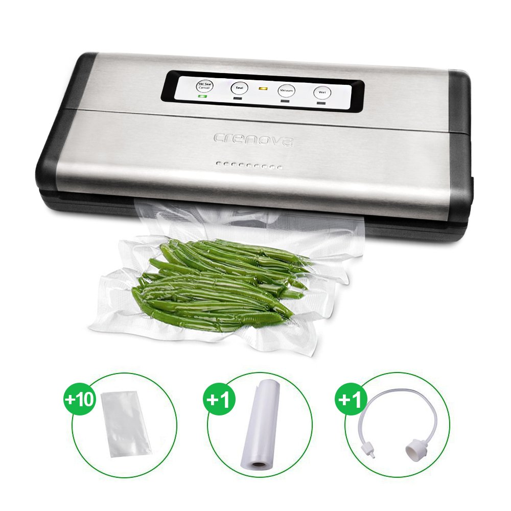 Crenova VS100S Vacuum Sealer 2018 Updated Food Saver Machine, Automatic Food Sealer Vacuum Packing Machine for Dry& Wet Food with Starter 10 Bags & Roll & Accessory Hose for Sous Vide Cooking