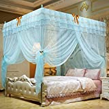 Nattey 4 Corner Post Bedding Curtains Canopy Mosquito Netting With Bed Frame (Twin, Light Blue)