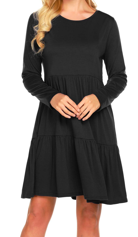 77cd89ce2bb3 Newchoice Women's 3/4 Sleeve Empire Waist Loose Swing Ruffle T-Shirt Dress  Pleated Mini Dress (S, Black 01)