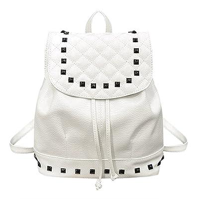 Awakingdemi Women Washed PU Leather Rivet Backpack Drawstring Casual Girls Travel Bag