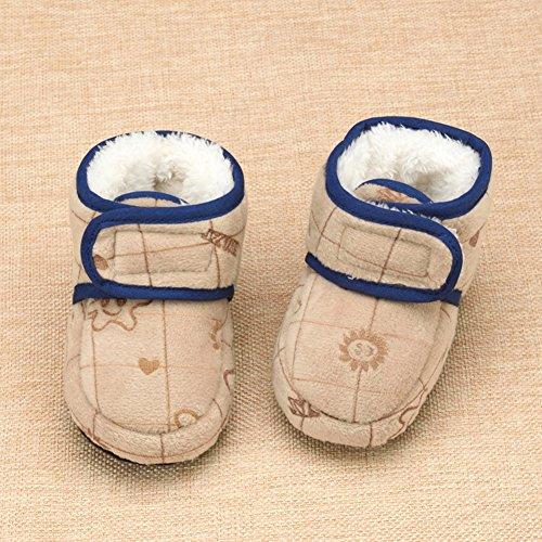 KVbaby Kleinkind Stiefel Mit Wolle warm Krabbelschuhe weiche Sohle rutschfester Babyschuhe Krippeschuhe(0-12 Monate Baby) Grau