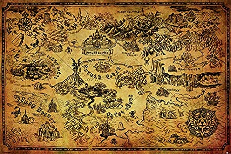 Amazon Com Legend Of Zelda The Hyrule Map Maxi Poster Wood Multi Colour By The Furniture Decor