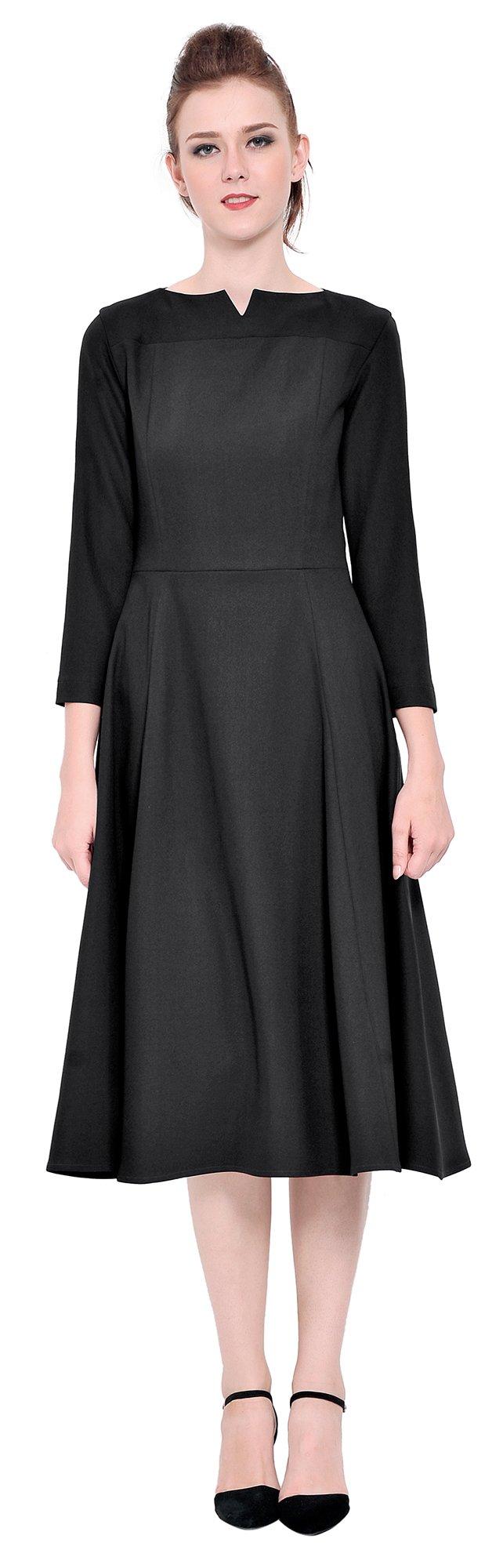 Marycrafts Womens Elegant Classy Office Business Long Tea Midi Dress 2 Black by Marycrafts