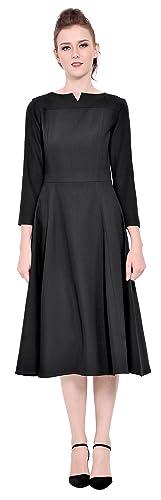 Marycrafts Womens Elegant Classy Office Business Long Tea Midi Dress