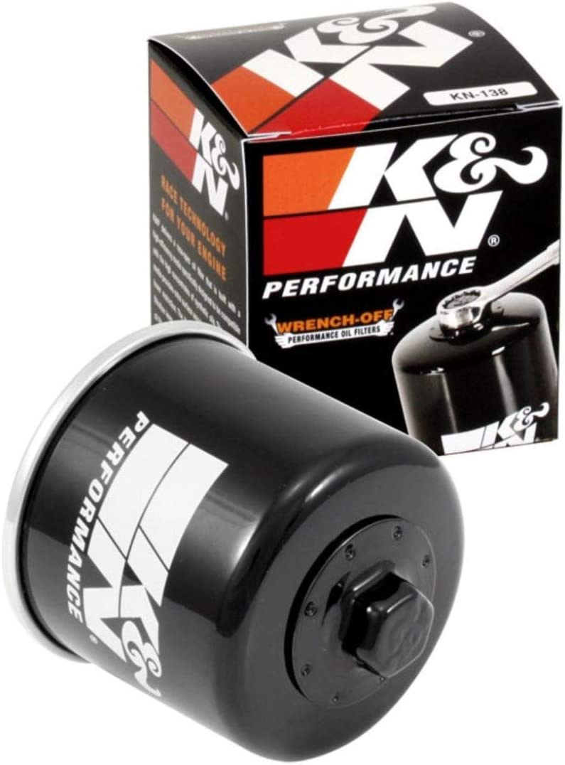 K&N Motorcycle Oil Filter: High Performance, Premium, Designed to be used with Synthetic or Conventional Oils: Fits Select Suzuki Motorcycles, KN-138, black, Fitment: Automotive