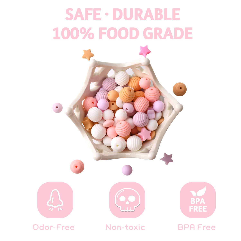 baby tete Cuentas de Silicona para Bebé para la Dentición Mordedor Orgánico Flojo de la Joyería de Enfermería 100pcs Serie Rosa Colgante de Collar de ...