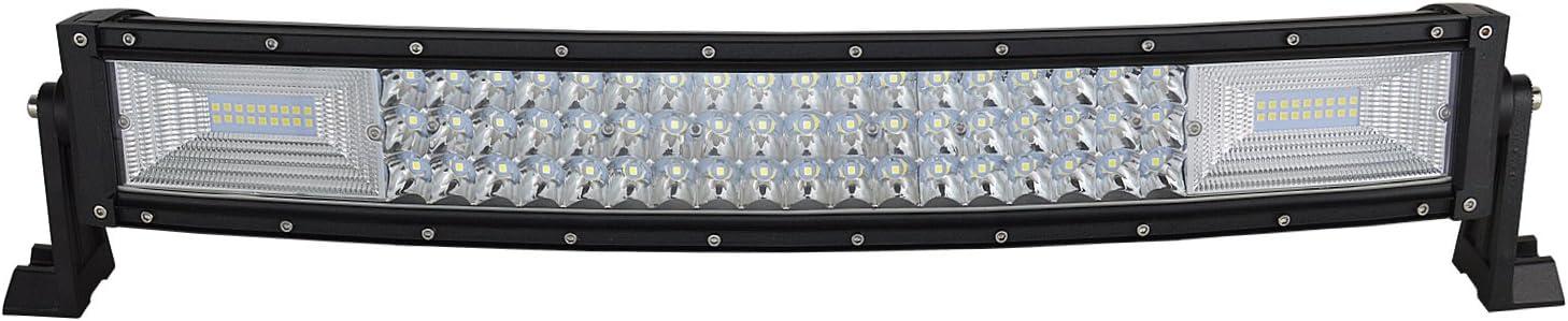 AUXTINGS 22 pulgadas 270W Curvo triple fila 7D LED barra de luz de trabajo Spot Flood Combo Beam DC 12V-24V 6000K vehículos todoterreno 4x4 Atvs Utvs