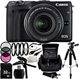 Canon EOS M3 Mirrorless Digital Camera with EF-M 18-55mm f/3.5-5.6 IS STM Lens (Black) 32GB Bundle 18PC Accessory Kit Includes 32GB Memory Card + High Speed Memory Card Reader + 3PC Filter Kit (UV-CPL-FLD) + 4PC Macro Filter Set (+1,+2,+4,+10) + MORE - International Version (No Warranty)