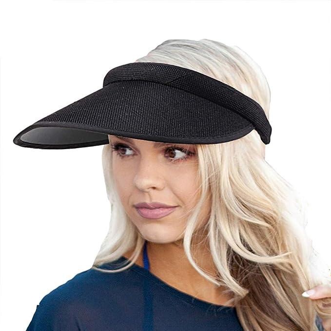 Women/'s Sun Visor Beach Hat 4 Inch Brim Clip On Straw Or Denim New