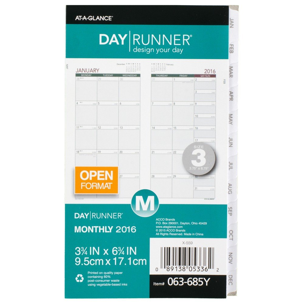 Day Runner Monthly Planning Pages 2016, 12 Months, Loose-Leaf, Size 3, 3.75 x 6.75 Inches (063-685Y)