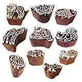 Clay Printing Stamps Exclusive Small Animal Fish Shape Wooden Blocks (Set of 10)