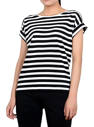 352ce545 HIYIN Womens Round Neck Striped T Shirt Black and White Stripes Rolled  Short Sleeves Heavy Cotton Casual Tops