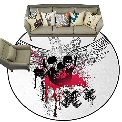 Skull,Floor Mat Entrance Doormat D54 Grunge Wings and Skulls with Signs Color Stains Background Punk Style Artwork Floor Mat Black Pink White