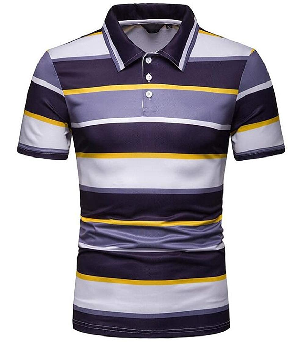 Nanquan Men Color Blocks Short Sleeve Striped Turn-Down Collar Office Polo Shirt