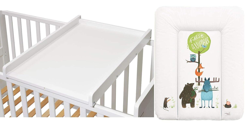 Wickeltisch Wickelaufsatz f/ür Betten 140x70 und 120x60 cm weiss inkl Wickelauflage EMILIA Azteken KOKO- Wickelbrett