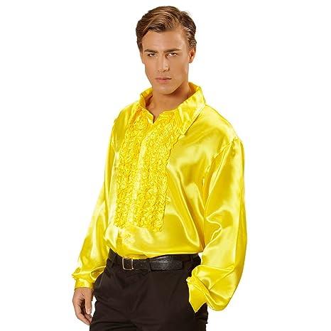 100% autentico 1556a 1acdb NET TOYS Camicia gialla in raso con volant in stile disco anni' 70 Taglia -  XL 58/60