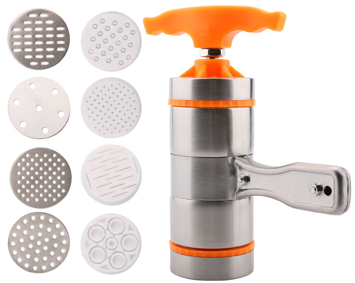 Useekoo Manual Pasta Maker Machine Noodles Press Machine with 9 Moulds Stainless Steel Hand Crank Spaghetti Fettuccine Noodle Dough Press Machine
