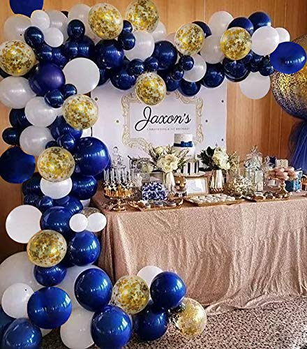 Navy Blue Balloon Arch Garland Kit Royal Baby Shower Balloons White Gold Confetti Balloon Bridal Shower Wedding Birthday Party Decorations Navy Party -