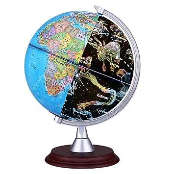 Carte Du Monde Jour Nuit.Foonee Ar 3d World Globe 3 En 1 Enfants Globe Illumine Petite Vue De Globe Terrestre Jour Et Nuit Vue Carte Du Monde Globe Globe Interactif Pour