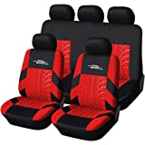 AUTOYOUTH Car Seat Covers Universal Fit Full Set Car Seat Protectors Tire Tracks Car Seat Accessories - 9PCS, Black/Red