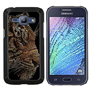 EJOOY---Cubierta de la caja de protección para la piel dura ** Samsung Galaxy J1 J100 ** --Arte del tigre