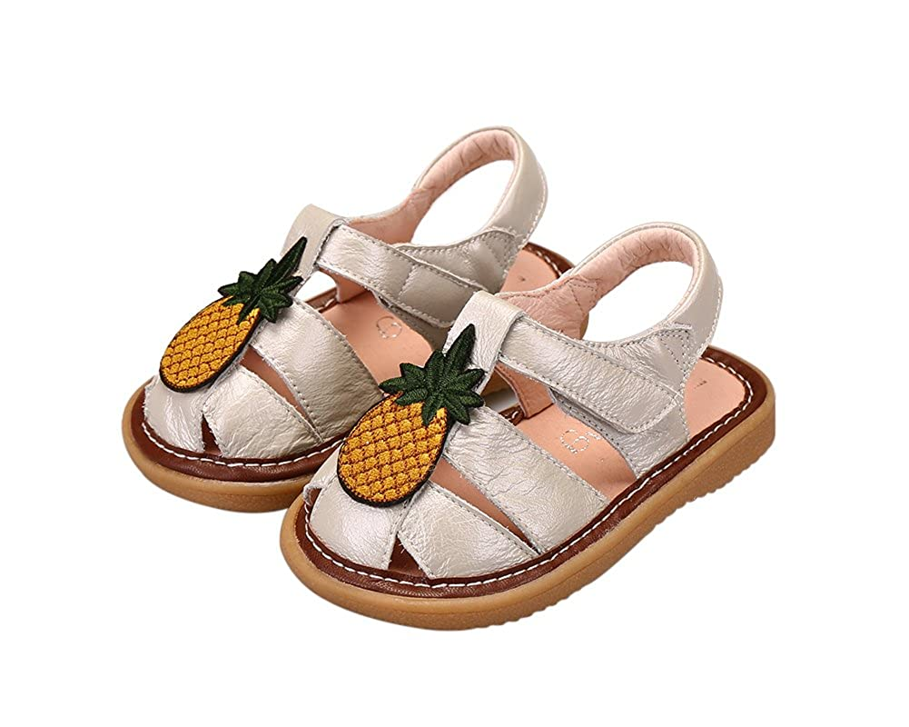 Genda 2Archer Toddler Girls Cute Pineapple Genuine Leather Squeaky Sandals Shoes BBZXLH61