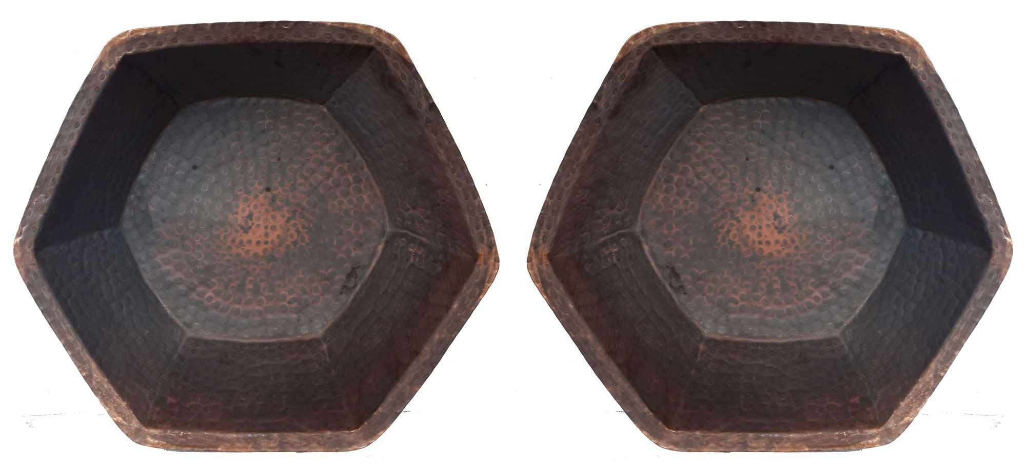 Egypt gift shops Pair Hexagonal Rustic Tempered Matte Copper Basins Foot Leg Calf Knee Massage Bath Pedicure Spa Beauty Salon Bowls Fungus Infections Corns Bunions Medical Care