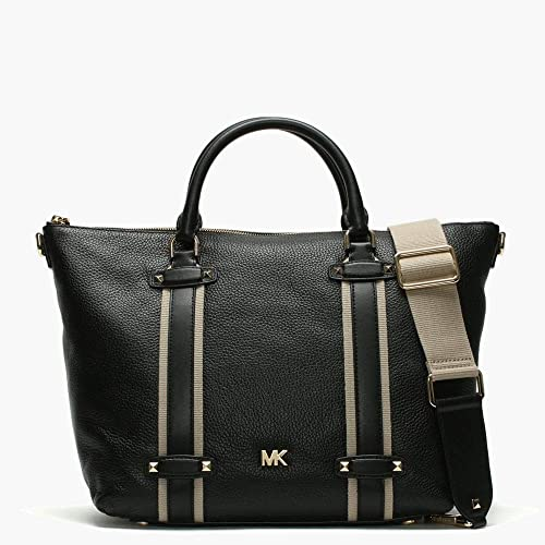 02db223825 Michael Kors Large Griffin Black Leather Satchel Bag Black Leather ...