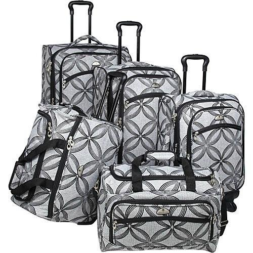 American Flyer Luggage Silver Clover 5 Piece Set Spinner, Black Gray, One...