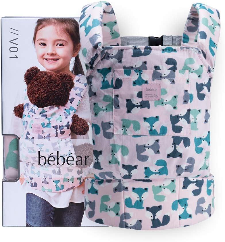 Bebamour Portabebés de algodón para niñas Accesorios para muñecos de bebé Juguetes para niños Muñeca Bolsa 3 en 1 Portabebés Sling Muñeca Baby Garabatos, Rosa claro con zorro