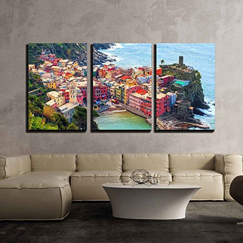 wall26 - 3 Piece Canvas Wall Art - Vernazza in Cinque Terre, Italy, View from Mountain Trekking Path - Modern Home Decor Stretched and Framed Ready to Hang - 24