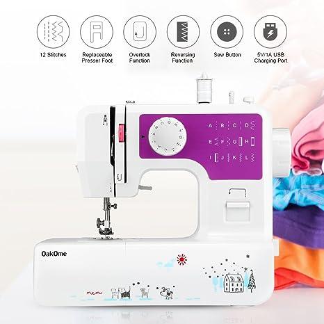 Minimáquina de coser de Oakome JG1602, 12 puntos integrados, ligera, con luz LED, pedal, aguja, bobina para principiantes, para niños y adultos morado: Amazon.es: Hogar