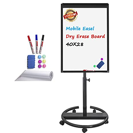 Magnetic Whiteboard Mobile Dry Erase Board 40x28inch Flipchart Easel Stand White Board With Markers Magnets Eraser Paper Sheet Black