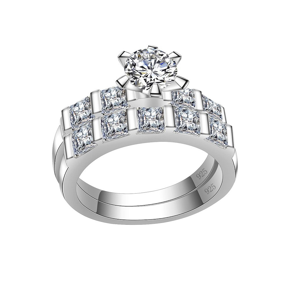 Lavencious Clear Wedding Sets Engagement Ring Band 925 Sterling Silver with White AAA Cubic Zirconia (Silver, 6)