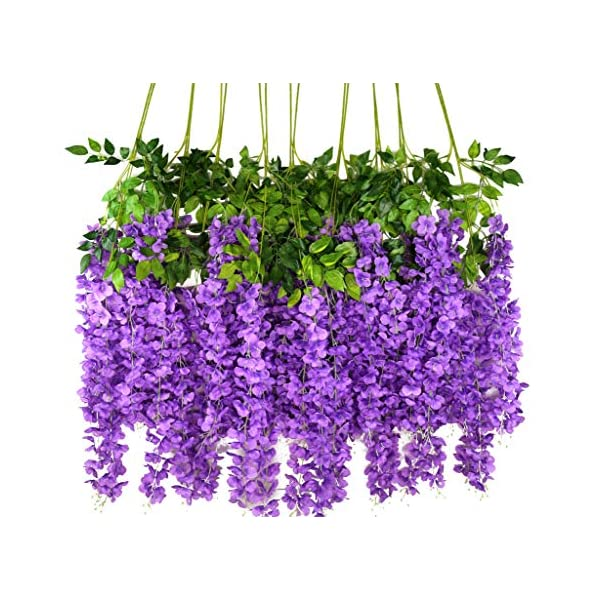 iWisteria 36 Pack 3.6FT Artificial Hanging Flowers Wedding Decoration Arch Greenery Vines Ceremony Backdrop Fake Wisteria Silk Party String Home Rattan Plants Bush Plastic Garland (Purple)