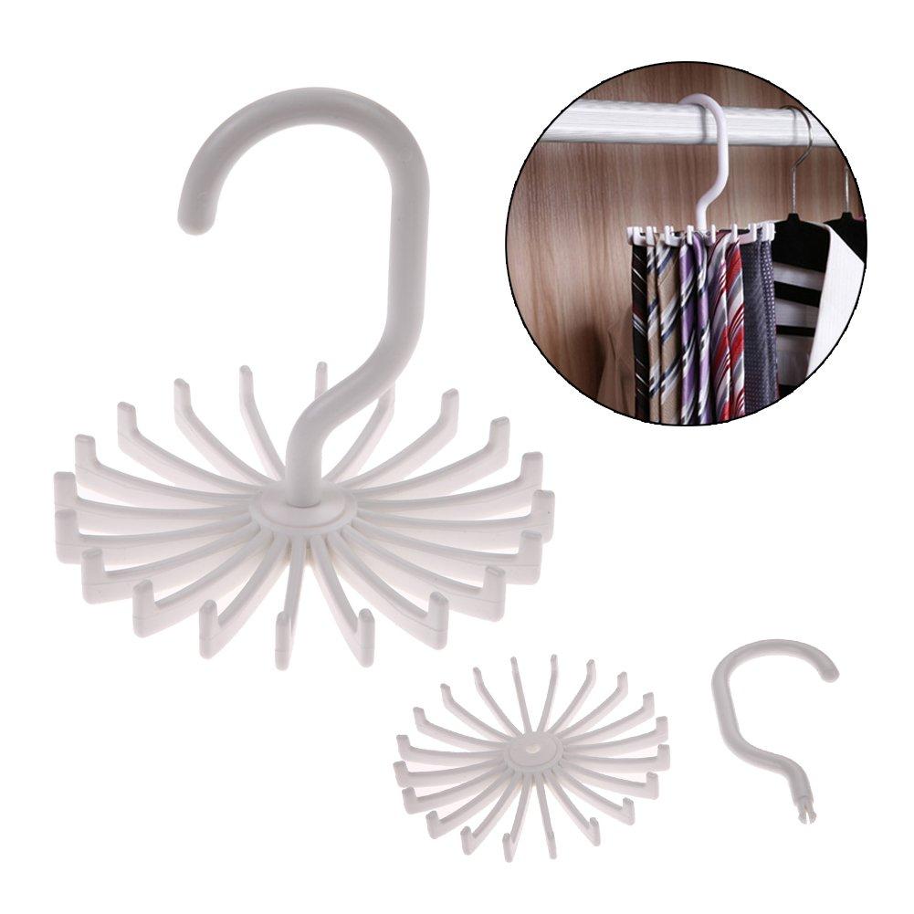 Whitelotous 360 Degrees Rotating Necktie Belt Scarves Hanger Closet Organizer