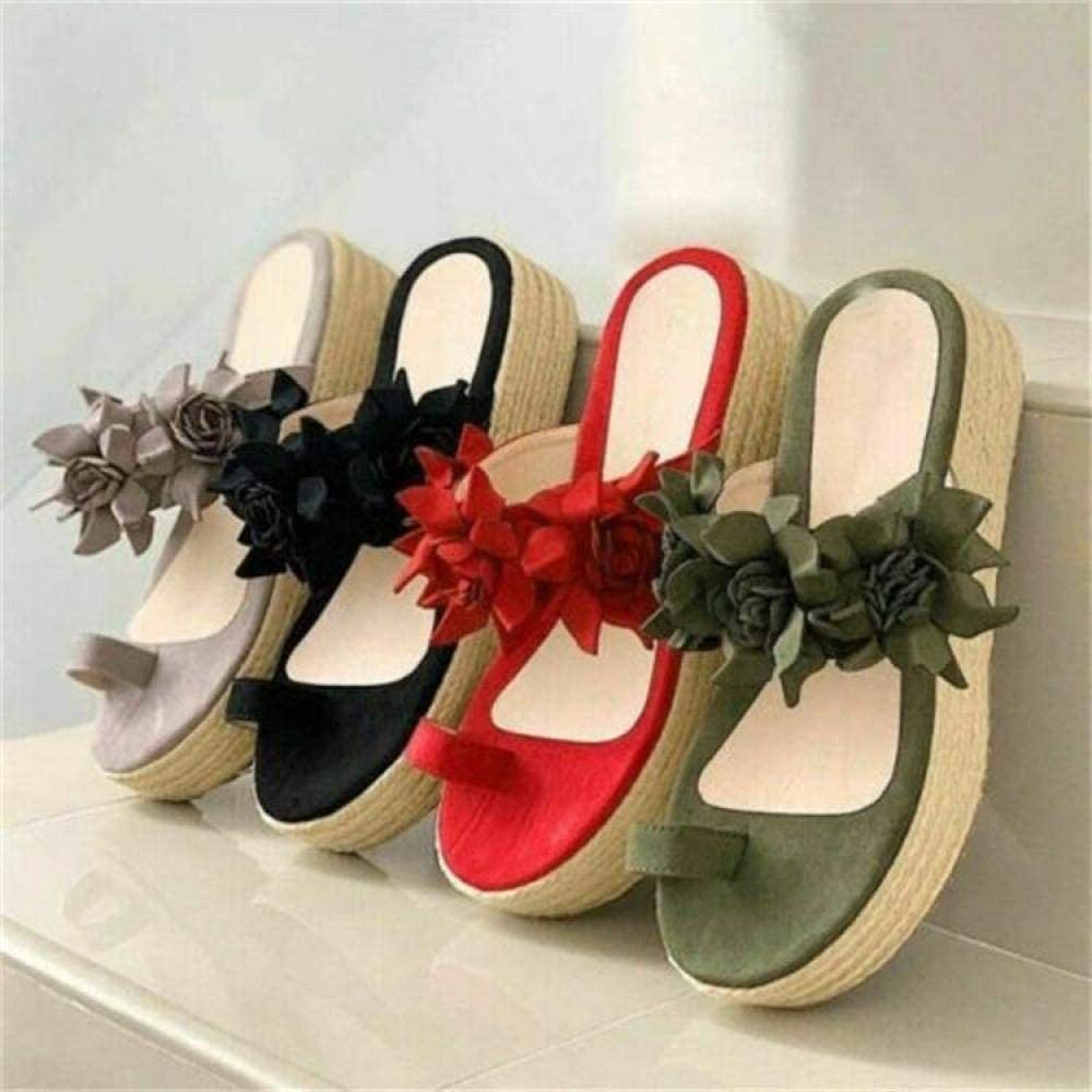 B/H Casual Anti-Slip Floor Sandals,Plus size flower toe sandals and slippers, thick bottom straw muffin slippers-black_37,Shower Non-Slip House Sandals Gray