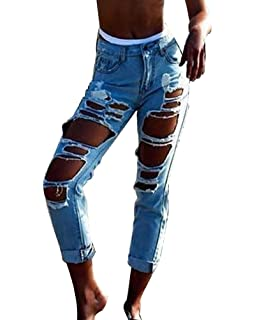 Denim Strappati Hole Pantaloni Boyfriend In Distrutti Straight Jeans Lunghi Donna aqAwnC7AF