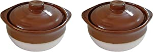Porcelain Ceramic Onion Soup Crock Bowl With Lid for Dinner Meals. Healthy Portion Size,Brown and Beige,Small 10 Ounce. (Set of 2)