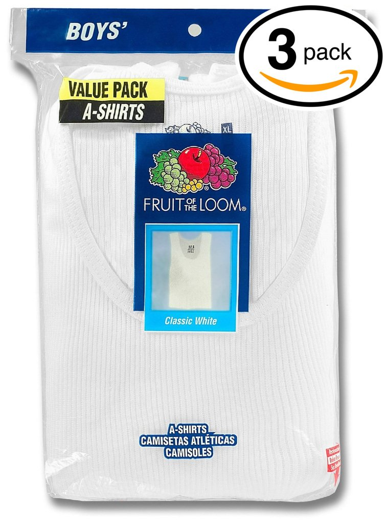 Fruit of the Loom, Boys Medium 10-12, Pack of 3, Tagless A-Shirts,white